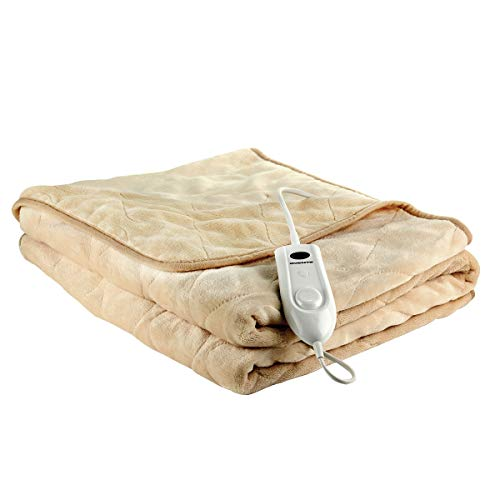 Ovente Electric Heated Throw Blanket 50 x 60 Inch with Detachable Remote & 3 Heat Settings, Auto Shut Off Function & Soft Flannel Fleece Just to Make You Cozy, Beige (BL0145BG)
