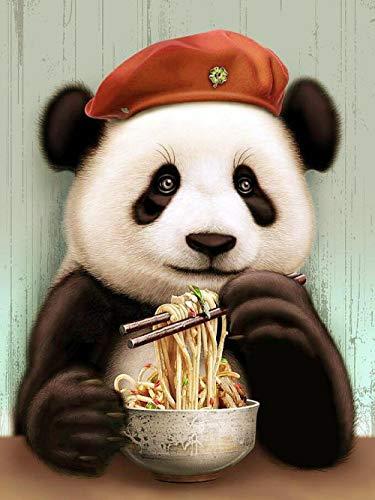 ZIWEIQI Panda isst Nudeln Jigzaw Puzzle 1000 Teile Puzzle für Erwachsene Landschafts Puzzles Klassische Puzzle Gehirn IQ Entwicklung von Lernspielzeug-50cmx75cm