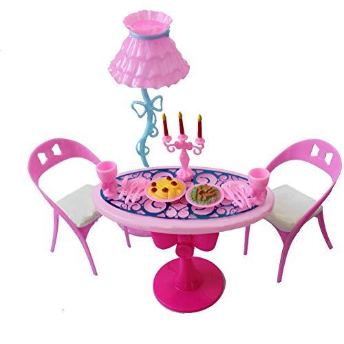 MAJGLGE Vintage in Miniatura Sedia Lampada da Tavolo da tavola Cibo per casa delle Bambole Barbie–Colore Casuale