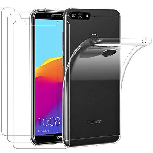 ivoler Hülle für Huawei Y6 2018 / Huawei Honor 7A, mit 3 Stück Panzerglas Schutzfolie, Dünne Weiche TPU Silikon Transparent Stoßfest Schutzhülle Durchsichtige Handyhülle Kratzfest Hülle