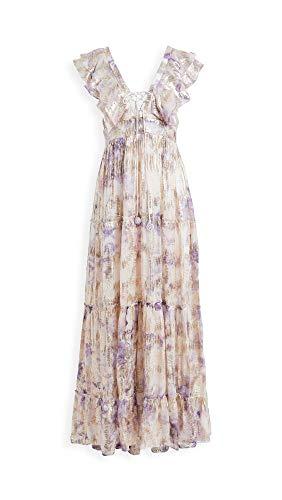 Hemant and Nandita Women's Vivir Long Dress, Peach/Lilac, Floral, Purple, X-Small