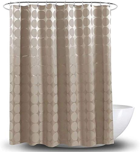 Gordijn Douchegordijn Waterproof Schimmelbestendig Polyester Shower Curtain Met Haken Bruin douche Liner Badkamer (Grootte: 180 * 200) (Size : 180 * 200cm)