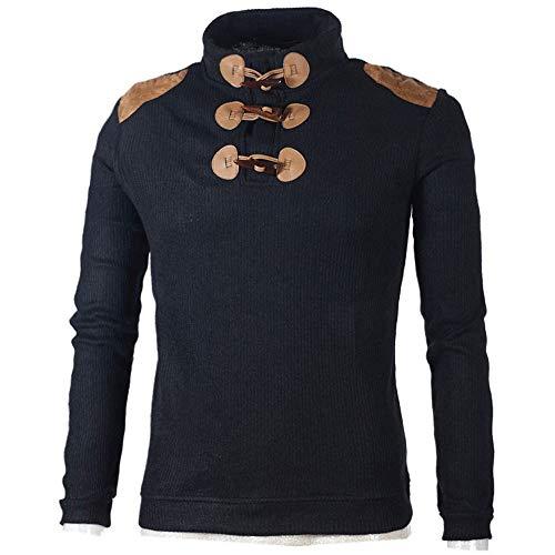 FRAUIT Mannen gebreide trui fijn gebreid met opstaande kraag en knoopsluiting met ronde hals button choker lange mouwen Jersey shirt top blouse