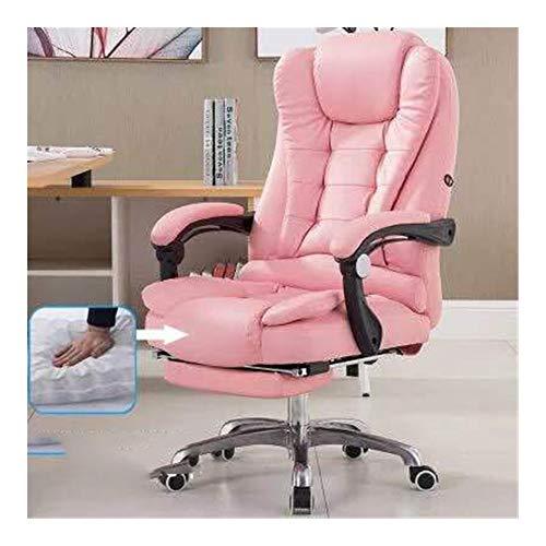 JCXOZ Büro Massage Lehnstuhl stilvoller justierbarer Gaming Chair Sitzkopfstütze Ergonomische mit Fußrasten Lehner mit Lendenwirbelstütze Höhe Bürostühle (Color : Pink)