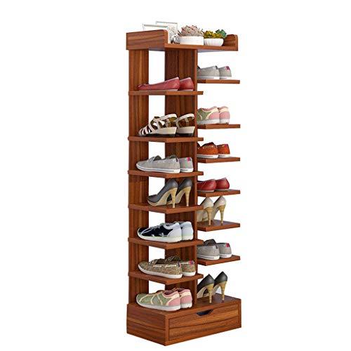 QQXX Schoenenrek Multilayer Slippers Storage Shelves Organizer ongekoeld duurzaam houten plank met lade bespaart ruimte bruin (40 cm breed) 40 x 24 x 115 cm k1 K1.