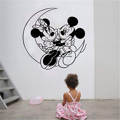 Minnie Mouse autocollant mural Mickey Minnie Mouse Moon Enfants Stickers Bricolage Mur Art Autocollant Decal Home Decor Chambres Décoration Murale