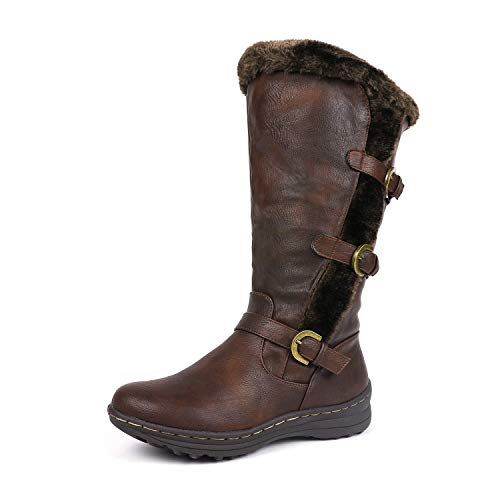DREAM PAIRS Minx Women's Winter Fully Fur Lined Triple Buckle Ruched Snow Knee High Boots Brown Pu Size 9.5 Wide Calf