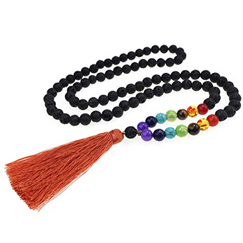 Suyi Collar De Cuentas De Roca De Lava Collar De Cadena De Difusor De Aceite Esencial Collar Largo De Piedra De Yoga para Hombres Y Mujeres
