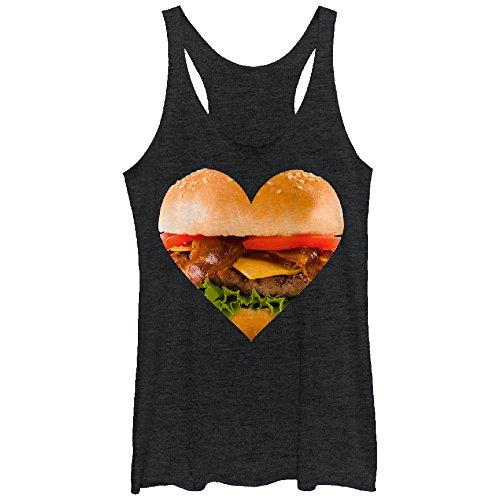 Women's Bacon Cheeseburger Heart Black Heather Racerback Tank Top
