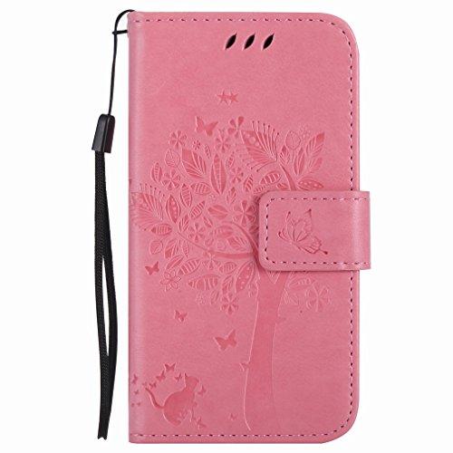 Yiizy Nokia Lumia 635 RM-974 RM-975 Funda, árbol De Dibujo Diseño Billetera Carcasa Estuches PU Cuero Cover Cáscara Protector Piel Ranura para Tarjetas Estilo (del Rosa)