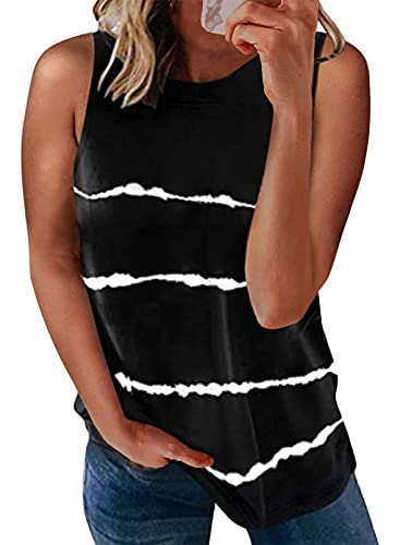 Biucly 2021 Womens Summer Crewneck Sleeveless Basic Tank Tops Casual Soft Striped Print Camisole Shirts Cute Blouses for Women,US 16-18(XL),Black