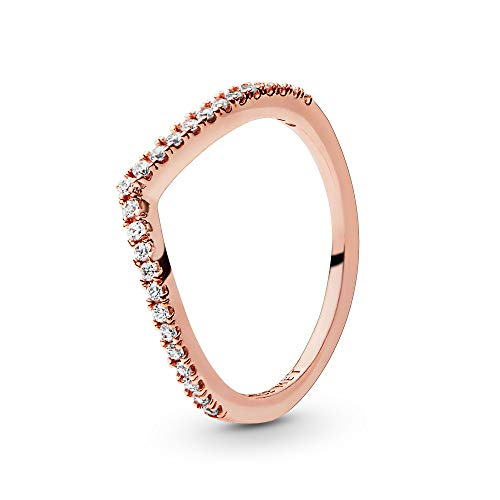 Pandora Jewelry Sparkling Wishbone Cubic Zirconia Ring in Pandora Rose, Size 8.5