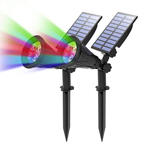 T-SUN 2 Stück LED Solarleuchten, 2-in-1 Wasserdicht Drahtlos Gartenleuchten, 4 Farbwechsel Outdoor Wandleuchte, 2 Beleuchtungsmodi, Auto-on/Off, Sicherheitsbeleuchtung für Hof, Rasen, Wege.