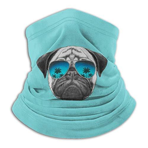 Gafas Pug Seamless Face cover Neck Gaiter Bandanas Multi-Functiofor Polvo, Exteriores, Festivales, Deportes Negro