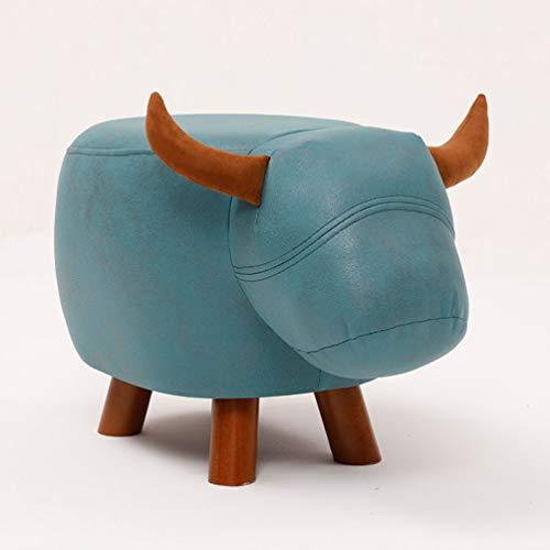 YUYAXAF Tierhocker, Dekohocker Für Kinder, Massivholz Holzbeine, Kinderhocker Tiere, Stark Und Robust, Größe: 60 * 32 * 36cm, Light Blue