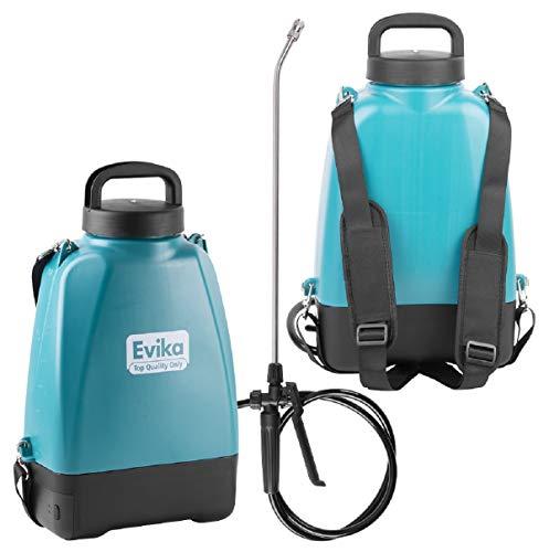 EVIKA Akku Drucksprüher 8 Liter | Elektrisch Unkrautvernichter Rückenspritze | 10.8V Li-Ion Batterie | Autopump | 52cm Sprühlanze | Einstellbare Messingdüse | Gartenspritze Spritzgerät |