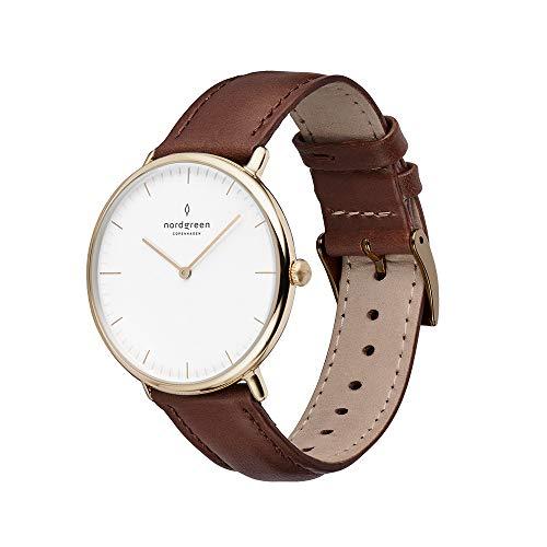 Nordgreen Native Scandinavian Gold Unisex Analog 36mm Watch with Dark Brown Leather...
