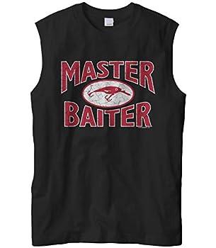 Men s Master Baiter Fish Lure Funny Fishing Sleeveless Muscle T-Shirt  Black X-Large