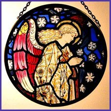 Decorative Hand Painted Stained Glass Window Sun Catcher/Roundel in an Angel Praying William Morris Design.