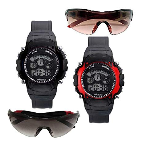 pass pass Kids Digital 7 Lights Watch and Goggle Sunglasses Pack of 4 (Age 7 to 15 Years, Black, Red)