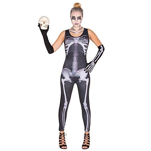 dressforfun Costume da donna - Tuta scheletro sexy   Moderna tuta intera   Gamba lunga   Lunghi guanti a manicotto (S   no. 300141)
