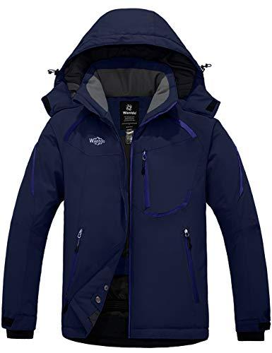 Wantdo Men's Mountain Waterproof Ski Jacket Windproof Rain Coat Navy S