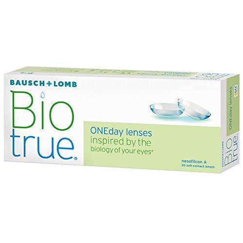 Bausch und Lomb Biotrue ONEday Tageslinsen, sphärische Kontaktlinsen, weich, 30 Stück BC 8.6 mm / DIA 14.2 / -2.25 Dioptrien