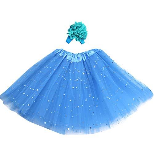 Daygeve Kinder Baby Mädchen Minirock Petticoat Paillette Stern Pettiskirt Haarband Tutu Rock Dancewear Prinzessin Röcke für 3-8 Jahre