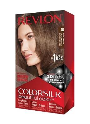 REVLON, Colorsilk Beautiful Color Permanent Hair Color with 3D Gel Technology Keratin 100 Gray Coverage Hair Dye, 40 Medium Ash Brown, 1 Count