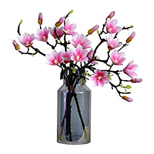 Aitificial Flowers with Glass Vase, Silk Fake Magnolia Flower Arrangement for Table Centerpiece, Home Wedding Decoration