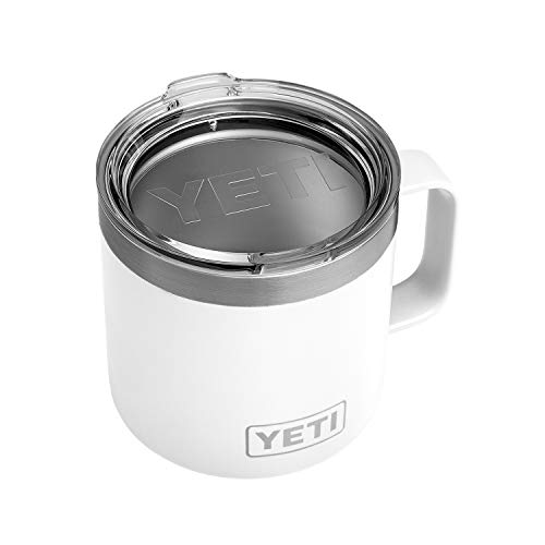 YETI Rambler 14 oz Mug, Stainless Steel, Vacuum Insulated with Standard Lid, White