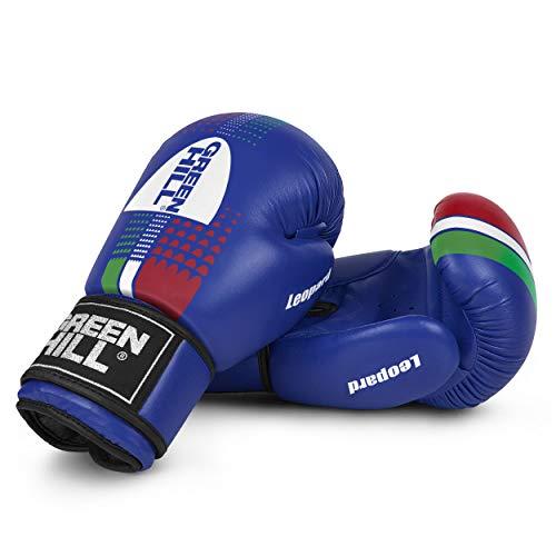 Green Hill Leopard Boxhandschuhe mit Antishock, Unisex, für Erwachsene, Unisex, Leopard, blau, 14 oz