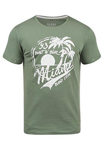 Blend Perry Herren T-Shirt Kurzarm Shirt Mit Print Und Rundhalsausschnitt, Größe:XXL, Farbe:Laurel Green (77207)