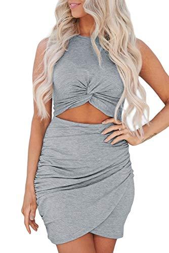 Uusollecy Damen Kleider Sommerkleid, Ärmellos Rundhals Bodycon Minikleider, Ausschnitt Twist Knot Sexy Kurze Kleider, Einfarbige Slim Fit Partykleid Grau Small