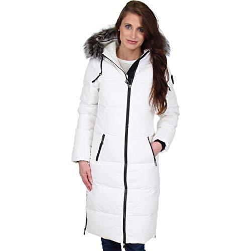 Pajar Jayde Women's Long Duck Down Fur Trim Winter Coat White Size S