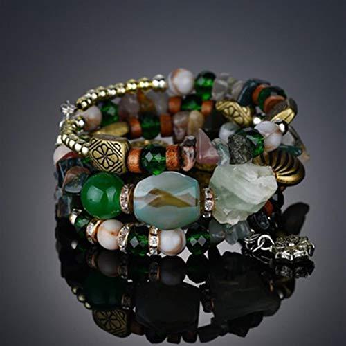 WEIHEEE Pulsera de cuentas multicolor, turquesa, elástica, apilable, para mujer, color verde