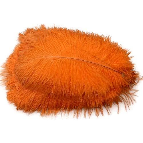 Sowder 50pcs Natural 8-10inch(20-25cm) Ostrich Feathers Home Wedding Decoration(Orange)