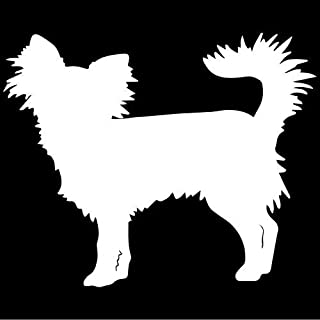 Long-haired Chihuahua Dog Decal Sticker (White), Decal Sticker Vinyl Car Home Truck Window Laptop