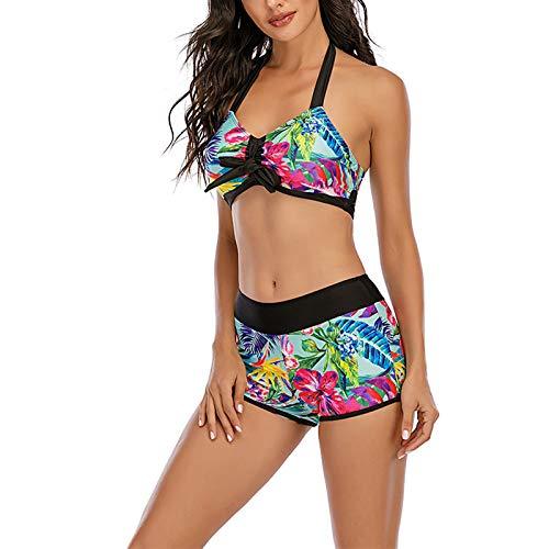 Traje de baño de Dos Piezas de Bikini Dividido para Mujer, diseño Simple y Colores Vivos, Adecuado para Nadar y Tomar fotografías en la Playa(Multicolor+L)