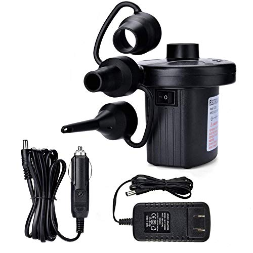 WangYu Electric Air Pump Portable Multi-Use Pump with 3 Nozzles Quick-Fill High Power Inflator Deflator for Blow up Mattress Raft Bed Boat Pool Toy