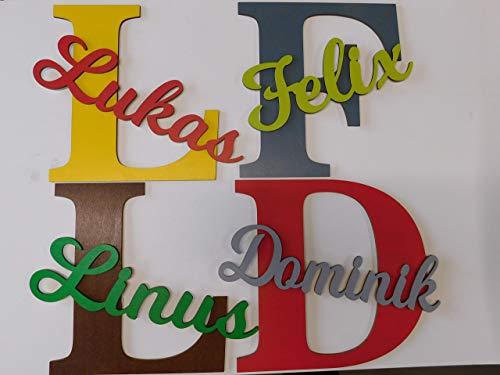 29cm großer XXL Holzbuchstabe mit Wunschnamen für die Kinderzimmertür I Türschild I Tolle Kinderzimmerdekoration. Handbemaltes Unikat. Als Wunschname individualisierbar - 6