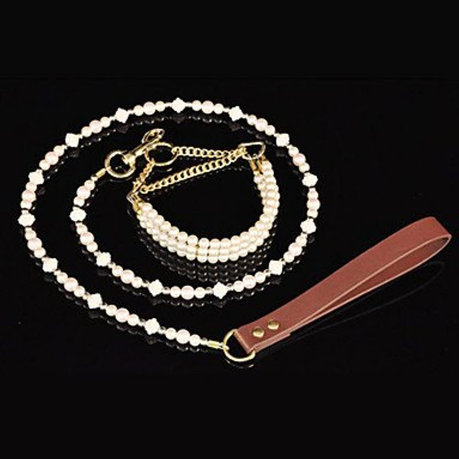 Quick shopping Full Beige Elegant Pearl Leather Holder Necklace Stylish Leash for Pets Dogs