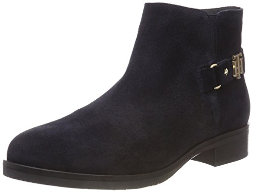 Tommy Hilfiger Damen TH Buckle Suede Bootie Stiefeletten, Blau (Midnight 403), 41 EU