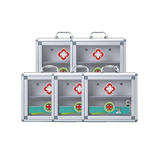 TLYING 5 Cofres de Medicina Multifuncional Multifuncional Multifuncional Caja médica con Cerradura, Adecuada para fábrica/Escuela/Familia/Equipo Deportivo,11.8×4.3×10.2 in
