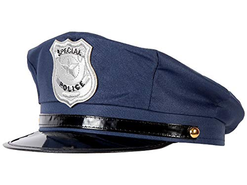 Alsino Polizeimütze verstellbar Fasching Polizeihut Karneval blau (176) für Erwachsene Blaue Cop Polizei Mütze
