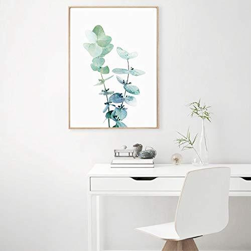 Hoja de eucalipto póster impresión moderna planta fotografía pared arte lienzo pintura cuadro hogar decoración de la pared40x50 cm sin marco