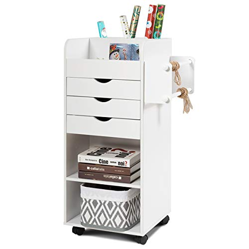 Tangkula Rolling Storage Drawer Cart, Home Office Mobile Drawer Cart, Wooden Utility Cart Storage Cabinet w/ 3 Drawers & 3 Open Storage Shelves, Paper Organizer w/ Lockable Casters