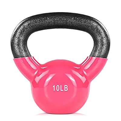 ZHERMAO 10lb Kettlebell Set Weights Vinyl Coated- Kettle Bell Set for Men and Women to Strength Training and Fitness (Pink, One Pack) from ZHERMAO