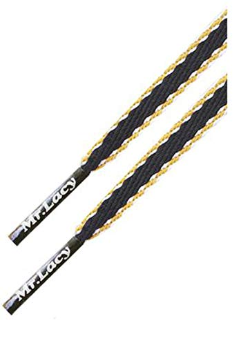 Mr. Lacy Jeanies Schnürsenkel - flach - 10 mm breit - 130 cm lang - in verschiedenen Farben (Yellow Lining)