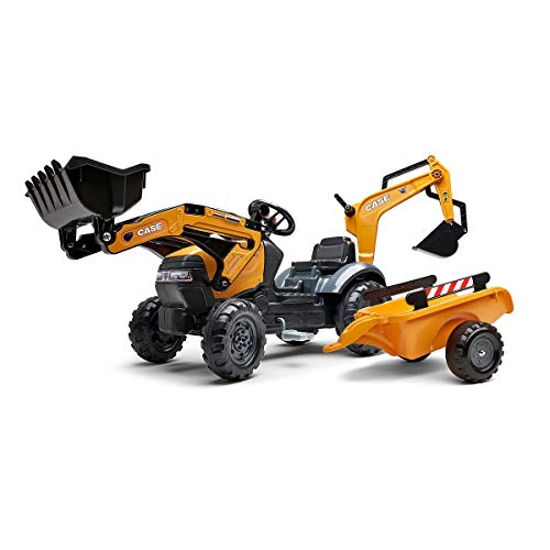 Fantastic Prices! Falk Tractopelle Case CE with Excavator and Trailer – Made in France Front Excavator and Articulated Excale- Personalised Number Plate-967N, 967N